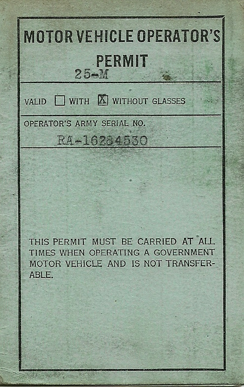Army Driver's License