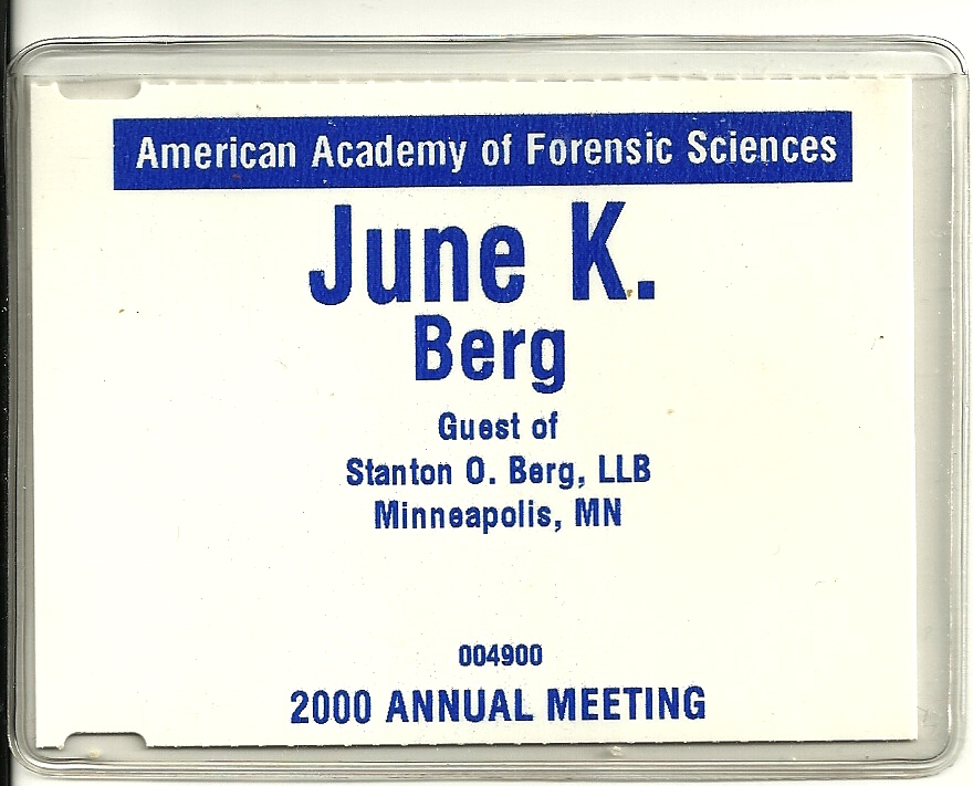 June's name badge