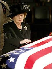 Thatcher at Reagan's coffin