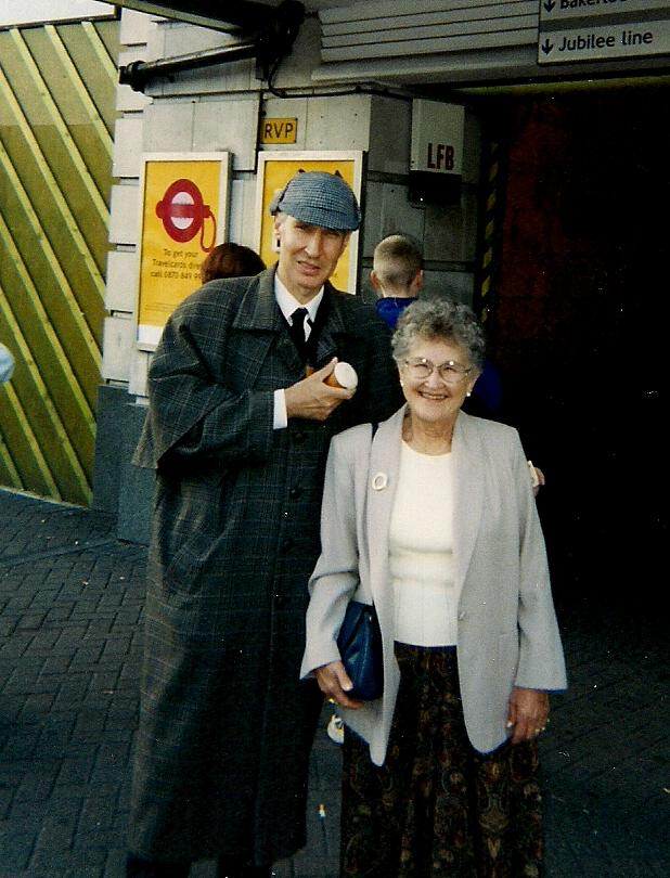 June with Sherlock in London in 1999