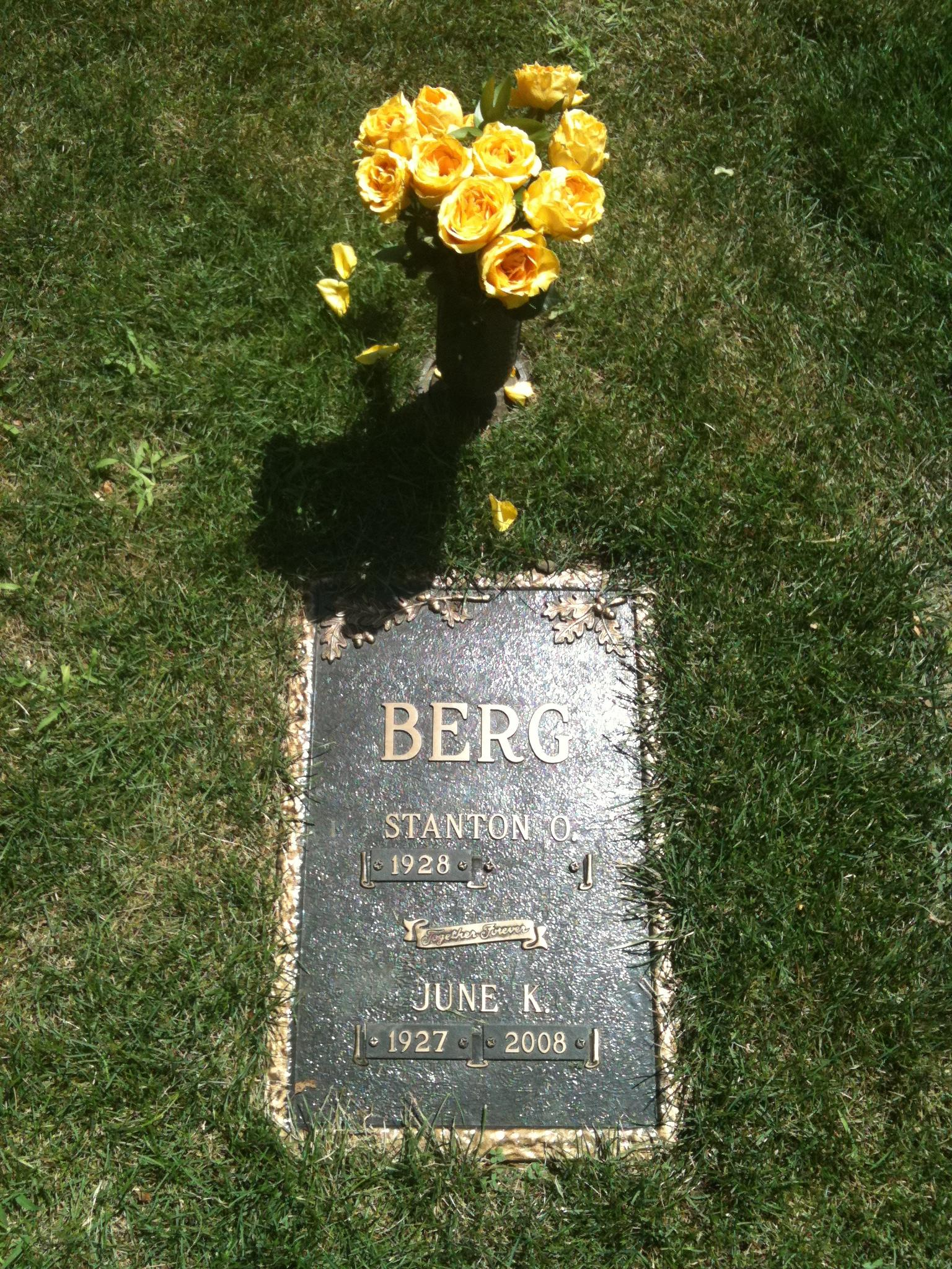 June's Grave marker with flowers